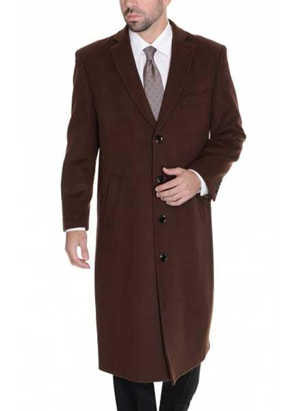 Product# JSM-544 Men's Dark Brown Full Length 4 Button Solid Wool Cashmere Overcoat
