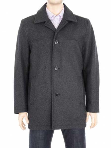 Product# JSM-543 Men's 4 Button Charcoal Gray Closure Solid Wool Blend Coat Jacket