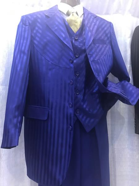 Product# JSM-6911 Milano Moda Royal Blue Suit For Men Perfect  Mens Pinstripe High Fashion Vested Suits