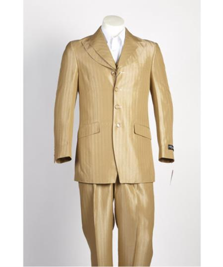 Men's 4 Button Camel ~ Gold ~ Mustard ~ Yellow ~ Bronz Single Breasted Suit