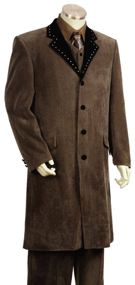 4 Button Style Vested Fashion Velvet Suit For sale ~ Pachuco men's Suit Perfect for Wedding brown color shade 45'' Long Jacket EXTRA LONG JACKET Very long Maxi