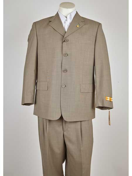 SM997 Tan khaki Color Classic Fit 4 Button Style Single Breasted Notch Lapel Suit