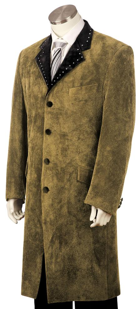 TF3452 High Fashionable 4 Button Style Long Long length Zoot Suit Taupe