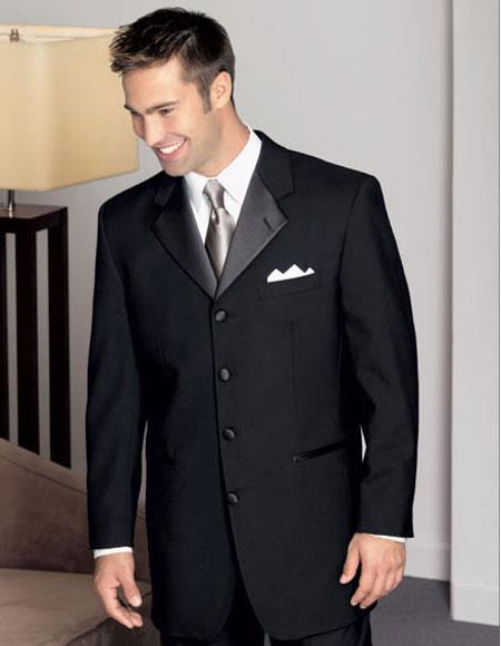 Product# JSM-3776 Men's 4 Buttons 100% Wool Black Tuxedo Style Notch Lapel with Pleated Pants