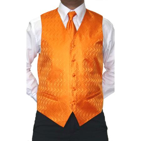 Four-Piece Orange Microfiber Vest