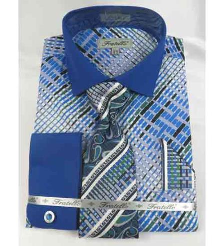Mens Cotton Blue Geometric