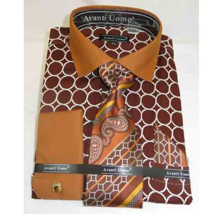 Product# JSM-507 Men's French Cuff With Collar Interlocking Ring Cotton Brown Honey Dress Shirt