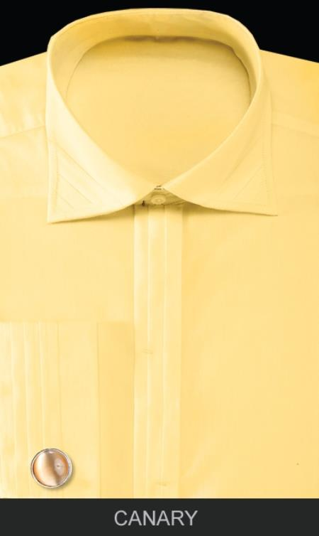 Product# FBU31 French Cuff Dress Shirt with Cuff Links - Solid Pleated Slacks Collar Canary