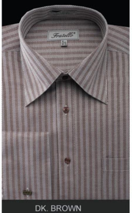 Fratello French Cuff Dark brown color shade Dress Shirt - Herringbone Tweed Stripe Big and Tall Sizes