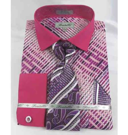 Mens Fuschia Cotton Geometric