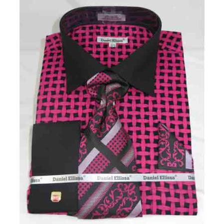 Mens Black Fuschia French