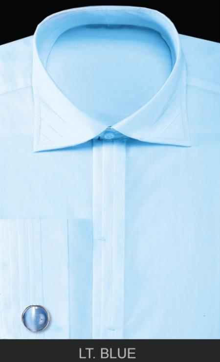 Product# ANK9 French Cuff Dress Shirt with Cuff Links - Solid Pleated Slacks Collar Light Blue