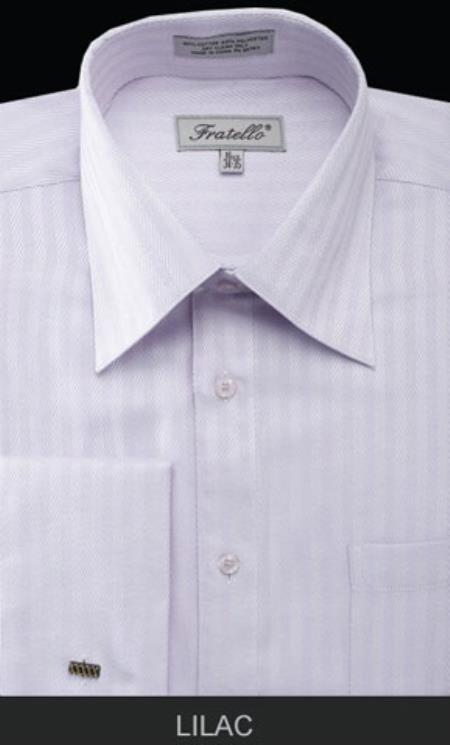 Fratello French Cuff Lilac Dress Shirt - Herringbone Tweed Stripe Big and Tall Sizes