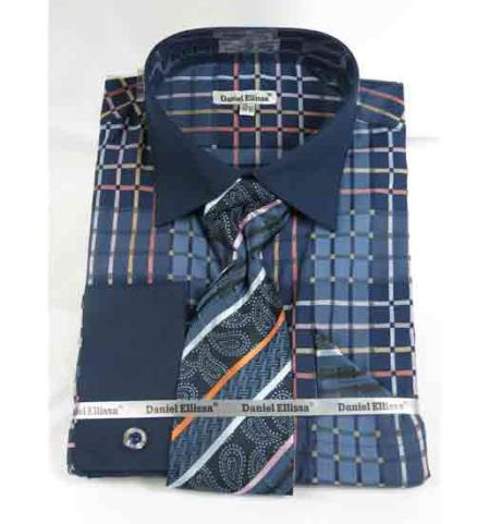 Product# JSM-500 Men's Navy Blue Bold Window Pane Pattern French Cuff With Collar Dress Shirt