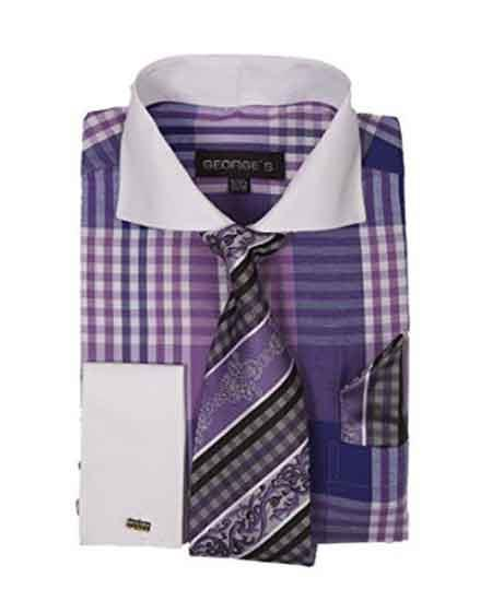 Product# JSM-628 Men's Purple Two Toned Long Sleeve White Collar Contrast Plaid Window Pane Pattern Set French Cuffed Dress Shirt Tie