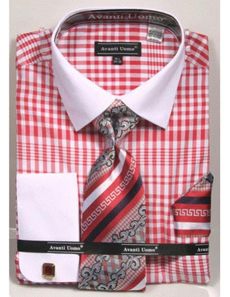 Product# CH2290 Mens white Collared French Cuffed Red Dress Shirt with Tie/Hanky/Cufflink Set