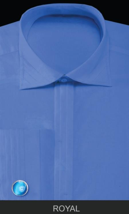 Product# QLP10 French Cuff Dress Shirt with Cuff Links - Solid Pleated Slacks Collar royal blue pastel color