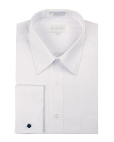 Mens White Pointed Collar