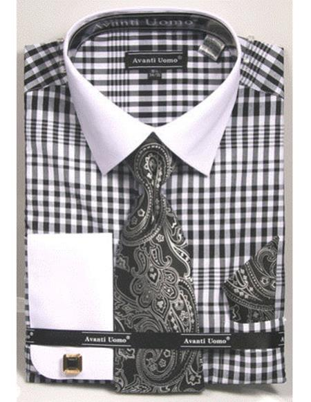 Product# CH2285 Mens white Collared French Cuffed black Dress Shirt with Tie/Hanky/Cufflink Set
