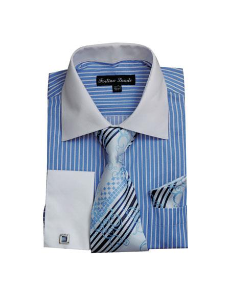 Product# CH2225 Mens White Collared French Cuffed Dress Shirt & Tie Set Blue