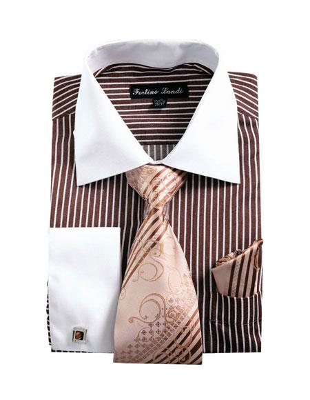 Product# CH2224 Mens White Collared French Cuffed Brown Dress Shirt & Tie Set