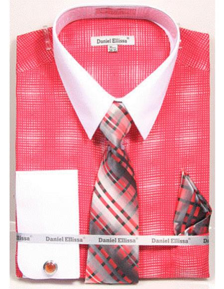 Product# CH2283 Mens white Collared French Cuffed coral woven design Dress Shirt with Tie/Hanky/Cufflink