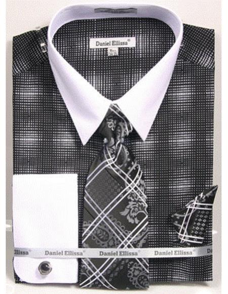 Product# CH2281 Mens white Collared French Cuffed Black woven design Dress Shirt with Tie/Hanky/Cufflink Set