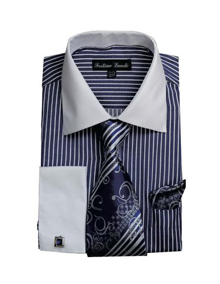 Product# CH2227 Mens White Collared French Cuffed Navy Dress Shirt & Tie Set