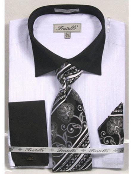 Mens Black Collared French