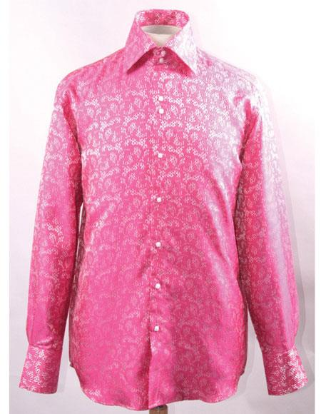 Product# JSM-5834 Men's High Collar Fashion ~ Shiny ~ Silky Fabric Fuchsia Unique Shiny Pattern Shirt