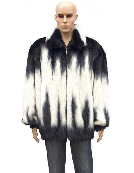 Mens Fur White/Black Full