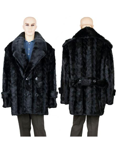 Mens Fur Pea Coat