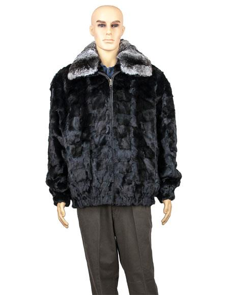 Product# GD747 Men's Fur Black Genuine Mink Pull Up Zipper Jacket