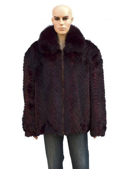 Product# GD739 Men's Handmade Fur Burgundy Pull Up Zipper Fox Collar Jacket