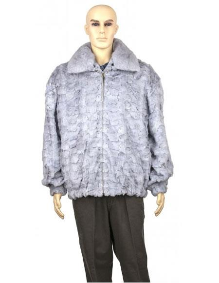 Product# GD890 Men's Fur Sapphire Genuine Mink With Full Skin Mink Collar Jacket
