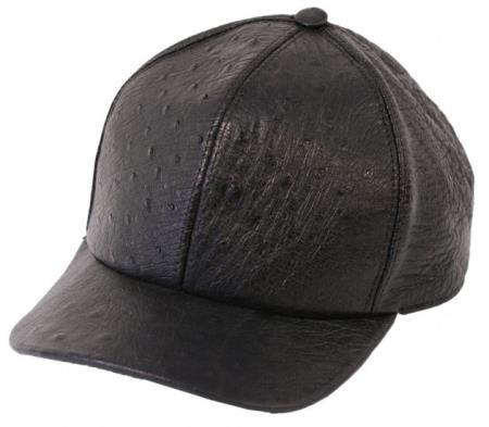 Product# PNZ53 Genuine Ostrich Alligator skin Exotic Skin Baseball Cap Negro