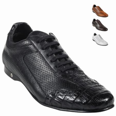 Product#UU2Z Alligator skin Belly Skin Shoe Liquid Jet Black