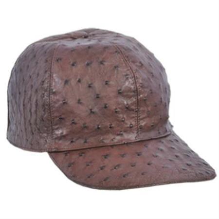 Product# AB116 Genuine Ostrich Alligator skin Exotic Skin Baseball Cap Cafe