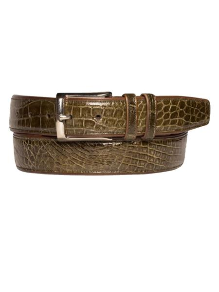 Product# JA233 Mezlan Brand Men's Genuine Alligator Olive Skin Belt