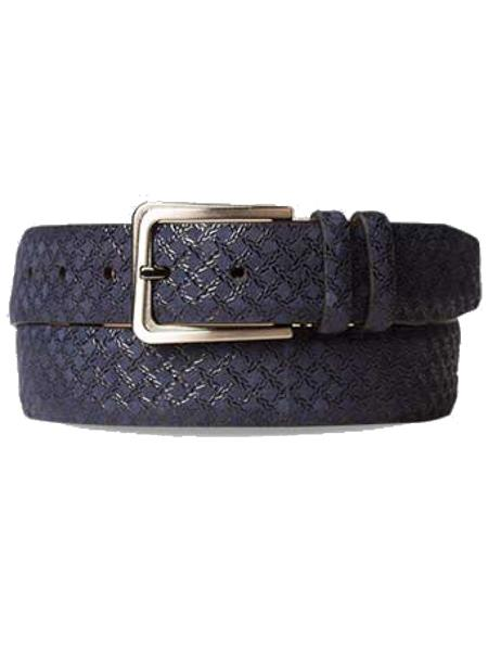 Product# JA290 Mezlan Brand Men's Genuine Suede Blue Skin Belt