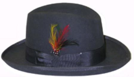 Product# DQ624 God Father Dark Grey Masculine color 100% Wool Fabric Homburg Dress Hat 4201