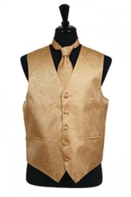 Product# VS2710 Paisley tone on tone Vest Tie Set Gold