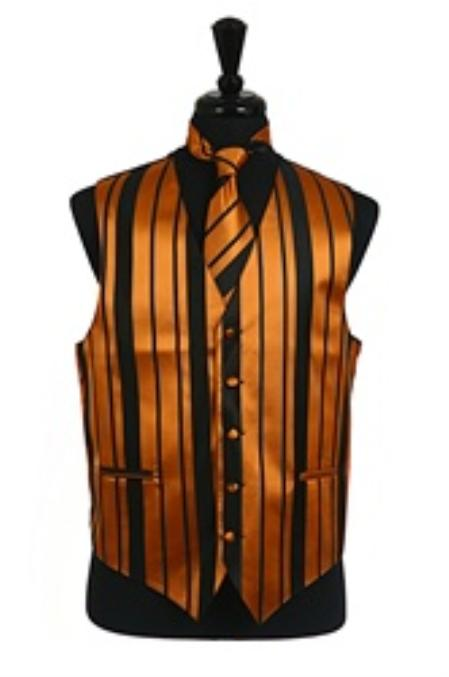 Product# VS4014 Vest/Tie/Bowtie Sets (Black-Gold Combination)