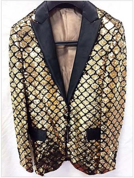 Product# GD1225 Men's Gold Unique Shiny Fashion Prom Flashy Fashion Sequin Blazer ~ Suit Jacket ~ Sport coat Dinner Jacket