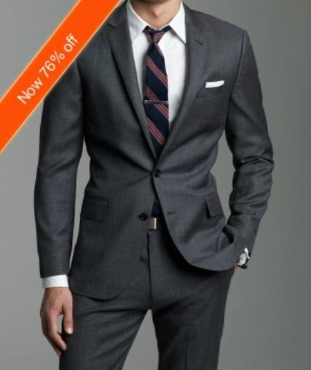 Gray 2 Button Wool Suit