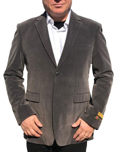 Product# AP579 Alberto Nardoni Best Mens Italian Suits Brands Gray ~ Charcoal Grey Velvet Velour Blazer Sport Coat Jacket Available Big Sizes