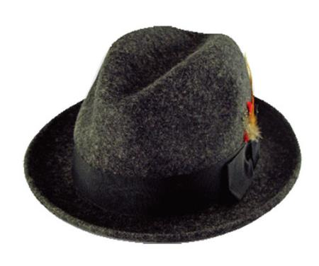 Product# H-3927 New 100% Wool Fabric Fedora Trilby Mobster suit hat Grey