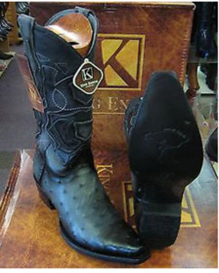 Product# SS-9655 King Exotic Gray Snip Toe Genuine Ostrich Western Cowboy Boot