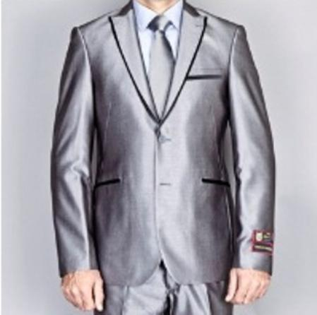 SGR1911 Shiny Gray 2 Button Style Euro Slim narrow Style Fit Suit