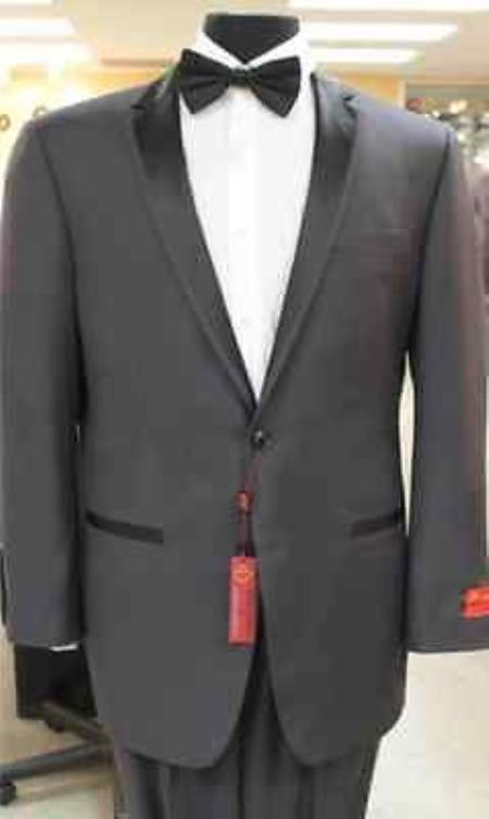 Grey~Gray Tuxedo 2 Button Style notch collar or Formal Suit & Dinner Jacker or Blazer Online Sale with Liquid Jet Black Edge Trim Lapel